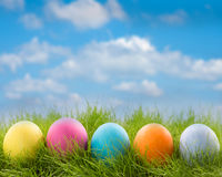 Row of easter eggs in grass Stock Photo