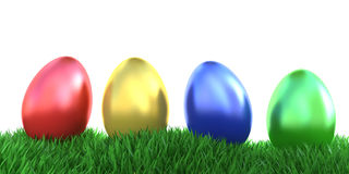 Row of easter eggs isoalted Stock Images