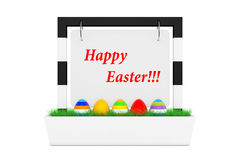 Row of Easter Eggs in Outdoor Banner Desk Display with Happy Eas Royalty Free Stock Photos