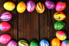 Row of Easter eggs on table. easter decoration. Row of Easter eggs on table. colorful easter decoration royalty free stock photo
