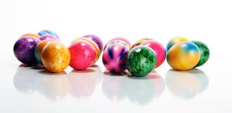 Row of Easter eggs on table. easter decoration. Row of Easter eggs on table. colorful easter decoration stock image
