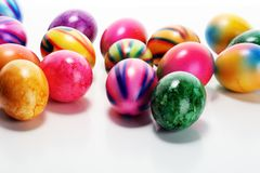 Row of Easter eggs on table. easter decoration. Row of Easter eggs on table. colorful easter decoration royalty free stock photography