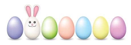 Row of Easter pastel eggs Stock Photo