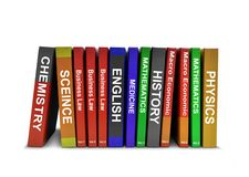 Row of Education Books. Over White Stock Image