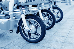 A row of electric bicycles Stock Photography