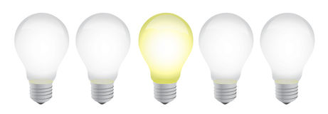 Row of electric bulb with one different vector illustration