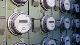 Row of electric meters Stock Images