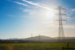 Row of electricity pylons. In Sardinia Stock Image