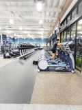 A row of elliptical machines stock photo