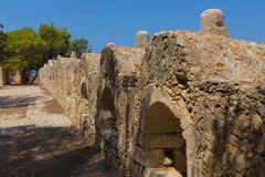Row of embrasures in Fortezza of Rethymno. Royalty Free Stock Photography