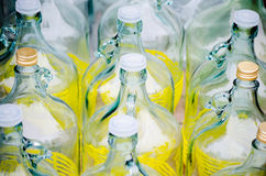 Row of empty big glass bottles Royalty Free Stock Images
