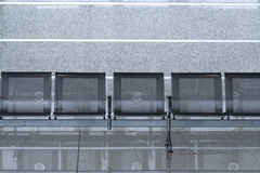 Row of empty chairs in international airport Royalty Free Stock Image