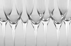 Row of Empty Champagne Flutes Stock Image
