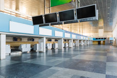 Row empty check-in desks. In abandoned airport royalty free stock photos