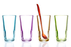 Row of empty colorful glasses Stock Photography