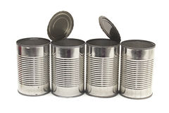 Row of empty food cans Stock Image