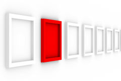 Row empty frames on white background Stock Photo