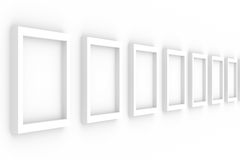 Row empty frames on white background. Isolated 3D image Stock Images