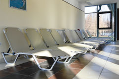 Row of empty lounge in Heviz spa resort in Hungary stock images