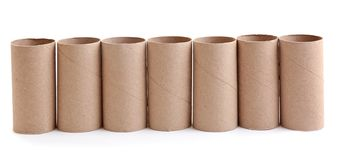 Row of empty paper toilet rolls royalty free stock image