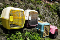 Row of empty pet transport boxes on outdoor stairs. Row of empty pet transport boxes sterilize and disinfect by sunlgiht UV on outdoor stairs stock image
