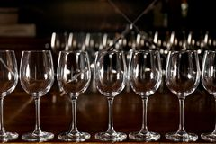Row of empty wine glasses. On bar counter royalty free stock photos