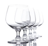 Row of Empty Wine Glasses Royalty Free Stock Photo