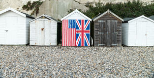 Row of English beach huts Royalty Free Stock Images