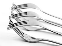 Row of Entwined Forks stock photos