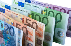 Row of Euro Banknotes Royalty Free Stock Photos