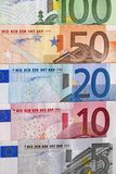 Row of Euro bills Royalty Free Stock Images