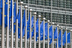 Row of europe flags. A row of europe flags standing in front of the building of the European Commission in Brussels Stock Images