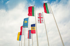 Row of european and asian flags Royalty Free Stock Image