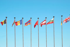 European flags. Row of european flags against blue sky background royalty free stock photos