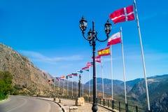 Row of european flags at Delphi, Greece Stock Photography