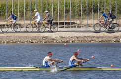 ROW: The European Rowing Championships. MONTEMOR-O-VELHO, PORTUGAL 11/09/2010. French team, TILLIET Fabien BETTE Jean-Christophe, on their way to winning the Men Stock Photo