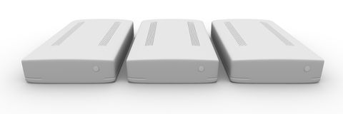 Row of external Hard Drives Stock Photo
