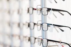Row of eyeglass at an opticians store Royalty Free Stock Photography
