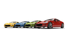 Row Of Fast Italian Cars Royalty Free Stock Photo
