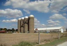A row of Feed silos Royalty Free Stock Photos