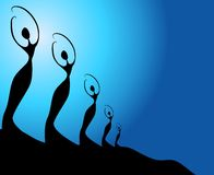 Row Female Silhouettes 2 Royalty Free Stock Image