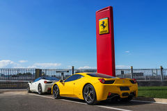 Row of ferrari cars. In dealership Stock Photography