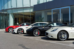 Row of ferrari cars Stock Image