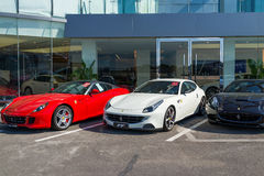 Row of ferrari cars royalty free stock images