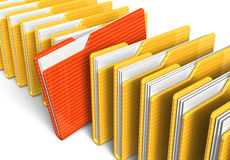 Row of file folders. Isolated on white background Stock Photos