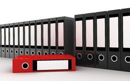 Row files and red file Stock Photo
