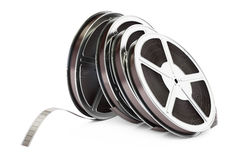 Row of film reels, 3D rendering. On white background Stock Photo