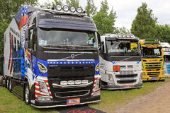 Row of Finnish Show Trucks Stock Photography