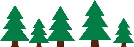 Row with fir trees wood. Vector Stock Image