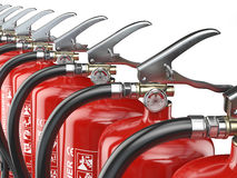 Row of fire extinguishers isolated on white background. 3d illustration Stock Image